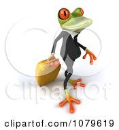 Clipart 3d Business Springer Frog With Rolling Luggage Royalty Free CGI Illustration