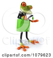 Clipart 3d Business Springer Frog With A Can Of Biofuel 2 Royalty Free CGI Illustration
