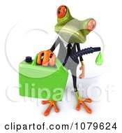 Clipart 3d Business Springer Frog With A Can Of Biofuel 3 Royalty Free CGI Illustration