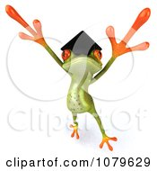 Clipart 3d Graduate Springer Frog Jumping 1 Royalty Free CGI Illustration