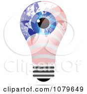 Clipart Blue Eye On An American Light Bulb Royalty Free Vector Illustration by Andrei Marincas