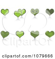 Clipart Green Heart And Reflection Icons Royalty Free Vector Illustration