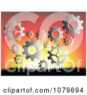 Clipart Silver Gear Cogs Against A Sunset Royalty Free Vector Illustration