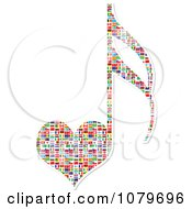 Heart Shaped Music Note With National Flags