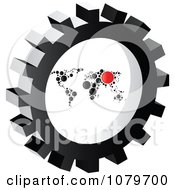 Clipart Circle Map In A Gear Cog Royalty Free Vector Illustration