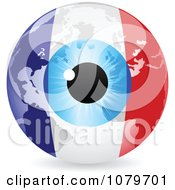 Clipart Blue Eye On A French Flag Globe Royalty Free Vector Illustration