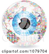 Clipart Blue Eye Over A National Flag Sphere Royalty Free Vector Illustration