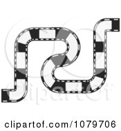 Clipart Black And White Curvy Film Strip Circuit Royalty Free Vector Illustration