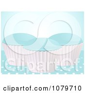 Clipart 3d Blue Cupcakes Over Polka Dots Royalty Free Vector Illustration