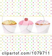 Clipart 3d Cupcakes With Sprinkles And A Cherry Over Colorful Polka Dots Royalty Free Vector Illustration by elaineitalia