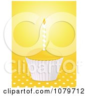 Clipart 3d Yellow Birthday Cupcake Over Polka Dots Royalty Free Vector Illustration