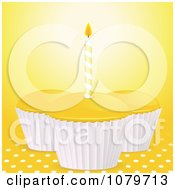 Clipart 3d Yellow Birthday Cupcakes Over Polka Dots Royalty Free Vector Illustration