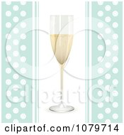 Clipart 3d Champagne Flute On A Blue And White Polka Dot Background Royalty Free Vector Illustration