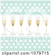 Clipart 3d Champagne Flutes On A Blue And White Polka Dot Background Royalty Free Vector Illustration