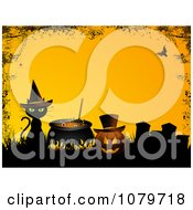 Black Cat And Witch Cauldron By A Jackolantern In A Cemetery With A Grunge Border Over Yellow
