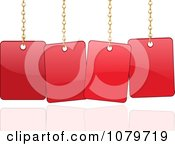 Clipart 3d Shiny Red Sale Sign Cards Hanging From Chains Royalty Free Vector Illustration