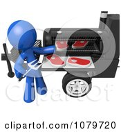 Clipart 3d Blue Man Barbequeing Steaks Royalty Free CGI Illustration