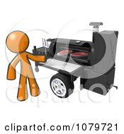 Clipart 3d Orange Man Grilling Steaks On A Bbq Royalty Free CGI Illustration