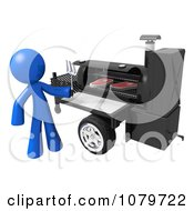 Clipart 3d Blue Man Grilling Steaks On A BBQ Royalty Free CGI Illustration