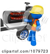 Clipart 3d Blue Man Barbequeing Ribs Royalty Free CGI Illustration