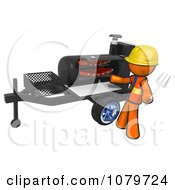 Clipart 3d Orange Man Grilling Ribs On A Bbq Royalty Free CGI Illustration