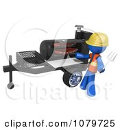 Clipart 3d Blue Man Grilling Ribs On A BBQ Royalty Free CGI Illustration