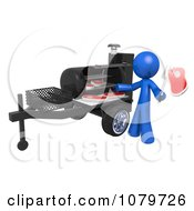 Clipart 3d Blue Man Cooking Steaks On A BBQ Grill Royalty Free CGI Illustration