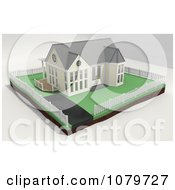 3d Yellow House With A Picket White Fenced Yard