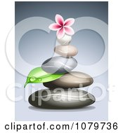 3d Frangipani Flower On A Pile Of Spa Stones