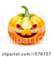 Clipart 3d Dewy Jackolantern Halloween Pumpkin Royalty Free Vector Illustration