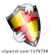 Clipart Hands Holding A 3d Shield Royalty Free Vector Illustration