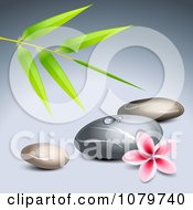 Clipart 3d Frangipani Flower With Bamboo And Spa Stones Royalty Free Vector Illustration by Oligo