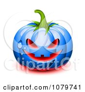 3d Blue Dewy Halloween Pumpkin With Glowing Red Light