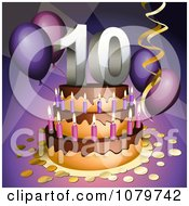 Clipart 3d 10th Birthday Or Anniversary Party Cake Royalty Free Vector Illustration