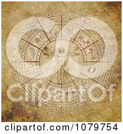 Clipart Vitruvian Man In The Center Of An Aged Zodiac Circle Royalty Free Illustration