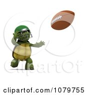 3d Tortoise Running To Catch A Football
