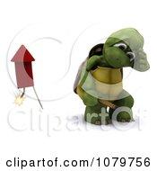 3d Tortoise Turning Away After Lighting A Rocket Firework