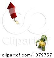 3d Tortoise Watching A Rocket Firework Take Off
