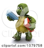 3d Tortoise Walking And Reading A Book