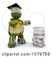 3d Tortoise Professor With A Stack Of School Books
