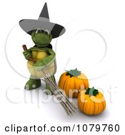 3d Halloween Tortoise Witch With A Broom And Pumpkins