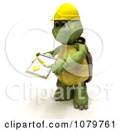 3d Tortoise Construction Worker Requesting A Signature On A Delivery