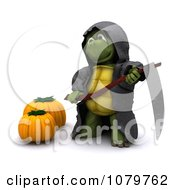 Clipart 3d Halloween Tortoise Grim Reaper With A Scythe And Pumpkins Royalty Free CGI Illustration by KJ Pargeter