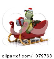 Clipart 3d Christmas Tortoise With A Gift And Sleigh Royalty Free CGI Illustration