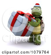 3d Christmas Tortoise Carrying A Gift Box