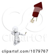 Clipart 3d White Character Watching A Rocket Firework Take Off Royalty Free CGI Illustration