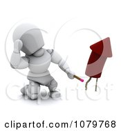 Clipart 3d White Character Lighting A Rocket Firework Royalty Free CGI Illustration by KJ Pargeter