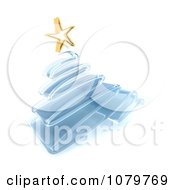 Clipart 3d Blue Glass Scribble Christmas Tree With A Gold Star Royalty Free CGI Illustration