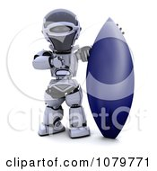 Clipart 3d Robot With A Blue Surfboard Royalty Free CGI Illustration