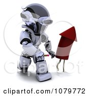 Clipart 3d Robot Lighting A Rocket Firework Royalty Free CGI Illustration by KJ Pargeter